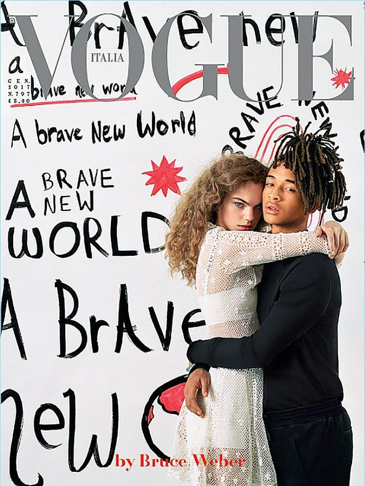 <i>Vogue Italia</i> January cover shot by Bruce Weber and styled by Paul Cavaco. (Courtesy Vogue Italia)