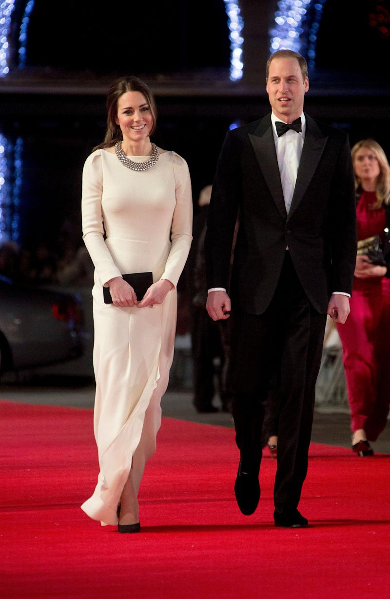 "Kate attended the UK red carpet premiere of ""Mandela: Long Walk to Freedom"" in a Roland Mouret gown on December 5, 2013."