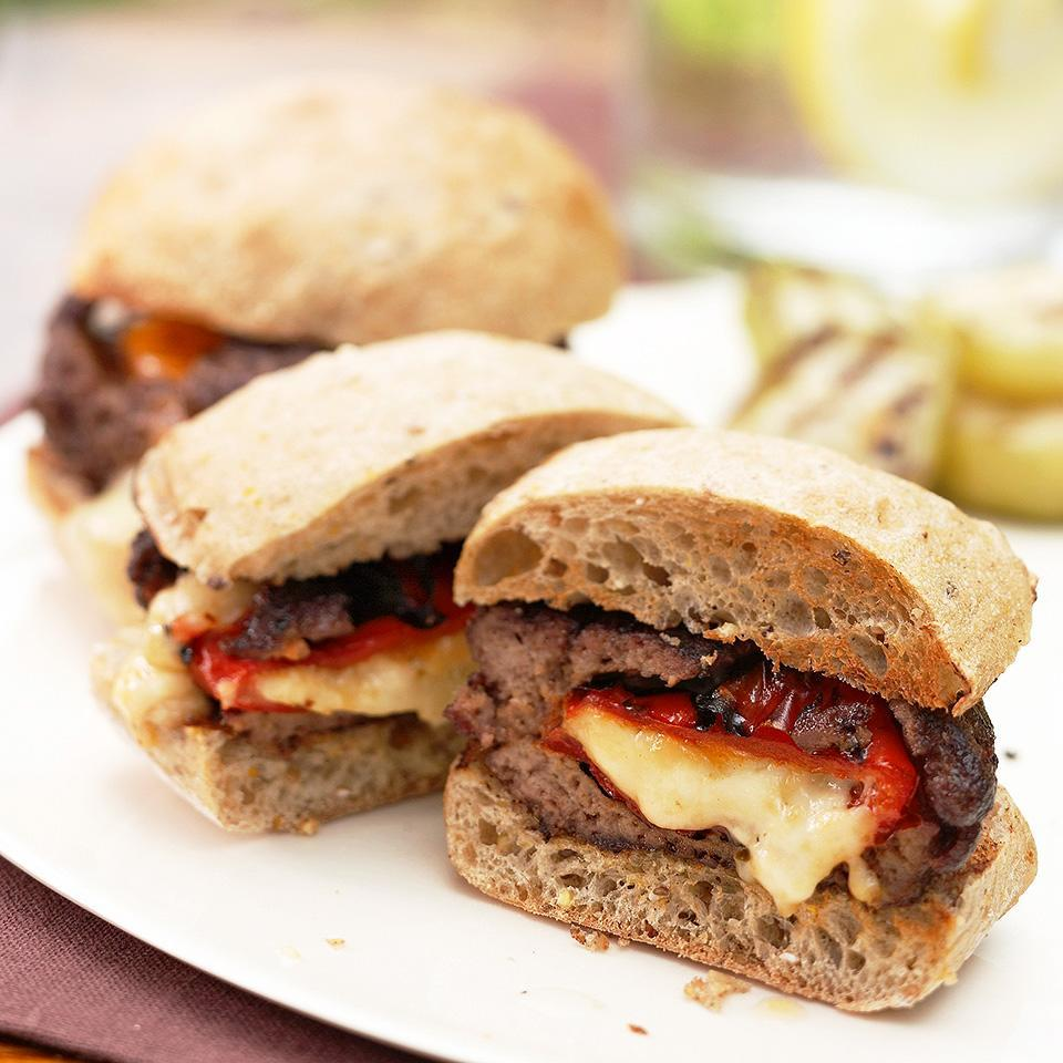<p>Inside these mesquite-seasoned burgers you'll find roasted sweet peppers oozing with melted pepper cheese. Grill them up for dinner or at a summer cookout with friends.</p>