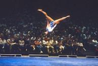 <p>Mary Lou Retton crushed the competition, scored a perfect 10 for her floor routine (and vault), and was the first American to win the all-around gold medal in the Olympics. </p>