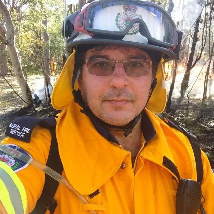 Photo of Joe Arena who is fundraising for better face masks for NSW fire crew.