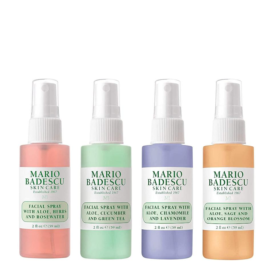 """<h3>Mario Badescu Facial Spray Collection</h3><br>Mario Badescu's travel-size facial spray collection will give any stocking an instant glow up with soothing aloe, rose water, cucumber, green tea, lavender, and orange blossom-infused ingredients. <br><br><strong>Mario Badescu</strong> The Facial Spray Collection, $, available at <a href=""""https://amzn.to/3og1kOL"""" rel=""""nofollow noopener"""" target=""""_blank"""" data-ylk=""""slk:Amazon"""" class=""""link rapid-noclick-resp"""">Amazon</a>"""