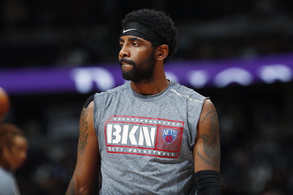Kyrie Irving will appear alongside Common and Jemele Hill to call for action around Breonna Taylor's shooting death. (AP Photo/David Zalubowski)