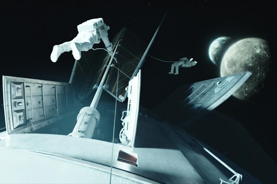 """Astronauts floating in space in """"Away"""""""
