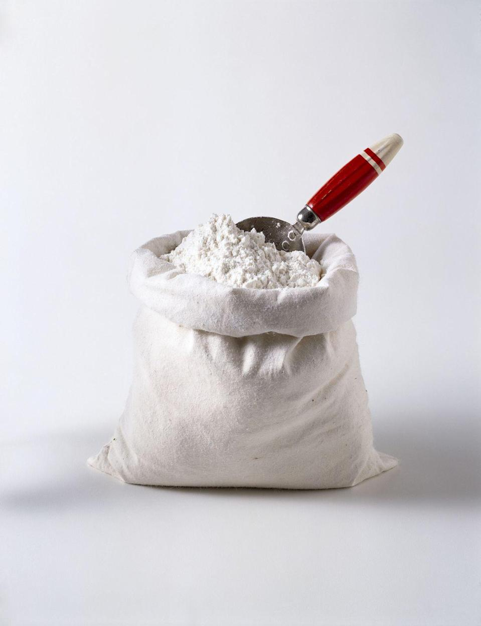 "<p>There's just one rule for this one: Avoid a messy situation by placing the bag of flour in a Ziploc bag before you begin. Then use the heavy weight to make basic bodyweight moves such as <a href=""https://www.runnersworld.com/training/a23723039/benefits-of-squats/"" rel=""nofollow noopener"" target=""_blank"" data-ylk=""slk:squats"" class=""link rapid-noclick-resp"">squats </a>and lunges more challenging.</p>"