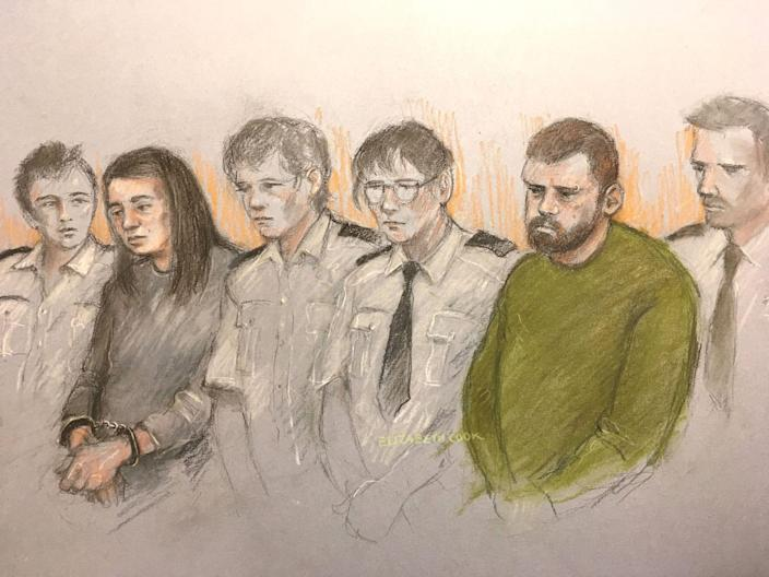 A court artist's sketch of Sarah Barrass, left, and Brandon Machin, right, flanked by security staff as they sit in the dock at Sheffield Crown Court (Picture: PA)