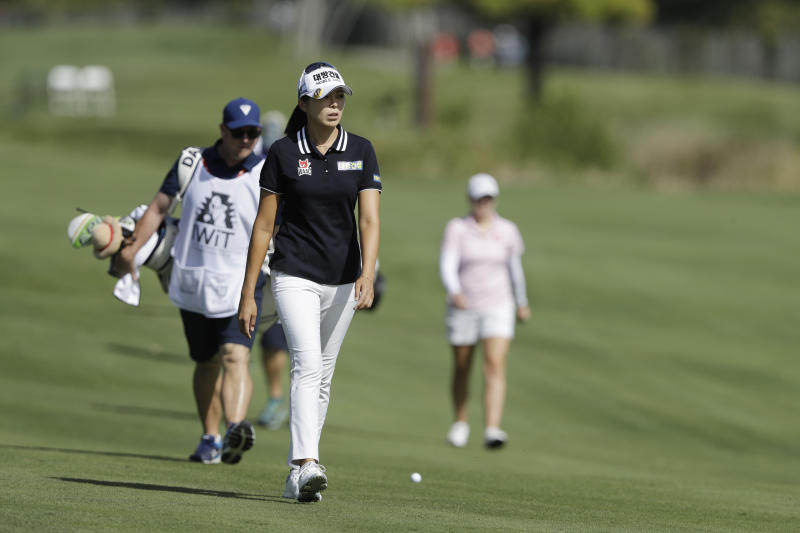 Mi Jung Hur, of South Korea, walks down the sixth fairway during the first round of the Indy Women in Tech Championship golf tournament, Thursday, Sept. 26, 2019, in Indianapolis. (AP Photo/Darron Cummings)