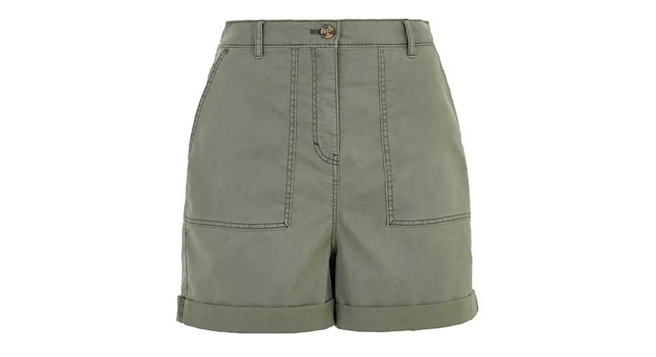 Cotton Blend Cargo Chino Shorts