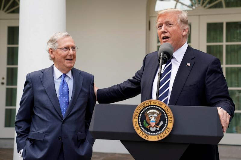 Senate Majority Leader Mitch McConnell (R-Ky.)is about to score some points with President Donald Trump for expediting judicial confirmations. (Yuri Gripas / Reuters)