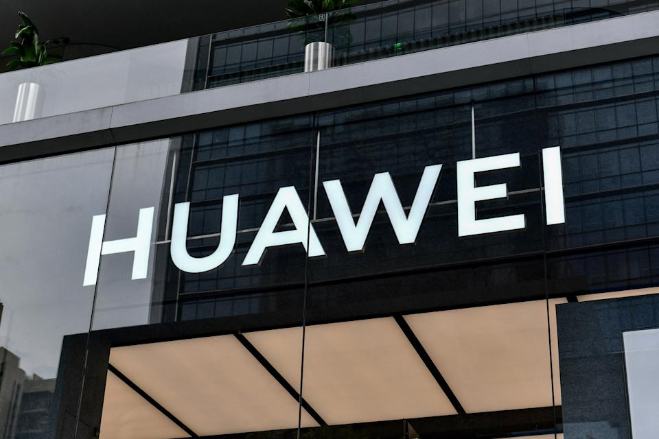 This photo taken on May 31, 2021 shows a Huawei logo at the flagship store in Shenzhen, in China's southern Guangdong province. - China OUT (Photo by STR / AFP) / China OUT (Photo by STR/AFP via Getty Images)