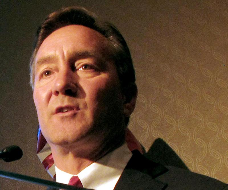 FILE - In this Sept. 5, 2012 file photo North Dakota Republican Senate candidate Rep. Rick Berg, R-N.D. speaks in Bismarck, N.D. Senate Democrats are launching two ads in North Dakota criticizing Berg over the stalled farm bill. Berg is locked in a close race with Democrat Heidi Heitkamp for the open seat.  (AP Photo/Dale Wetzel, File)