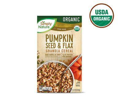 """<p><strong>ALDI</strong></p><p>aldi.us</p><p><strong>$11.50</strong></p><p><a href=""""https://www.aldi.us/en/products/breakfast-cereals/granola/detail/ps/p/simply-nature-organic-pumpkin-flax-granola/"""" rel=""""nofollow noopener"""" target=""""_blank"""" data-ylk=""""slk:Shop Now"""" class=""""link rapid-noclick-resp"""">Shop Now</a></p><p>Organic granola is notorious for its high price point, but <strong>ALDI's Simply Nature line offers a delectable high-quality organic granola at a very affordable pricepoint. </strong>With 6 grams of protein and 4 grams of fiber, a generous 1/2 cup serving goes great in a yogurt parfait or tossed in with oatmeal. </p><p><strong>Nutrition Facts (1/2 cup): </strong>240 cal, 9g total fat, 0mg cholesterol, 45mg sodium, 34g total carbohydrate, 4g dietary fiber, 10g total sugars, 9g added sugars, 6g protein</p>"""