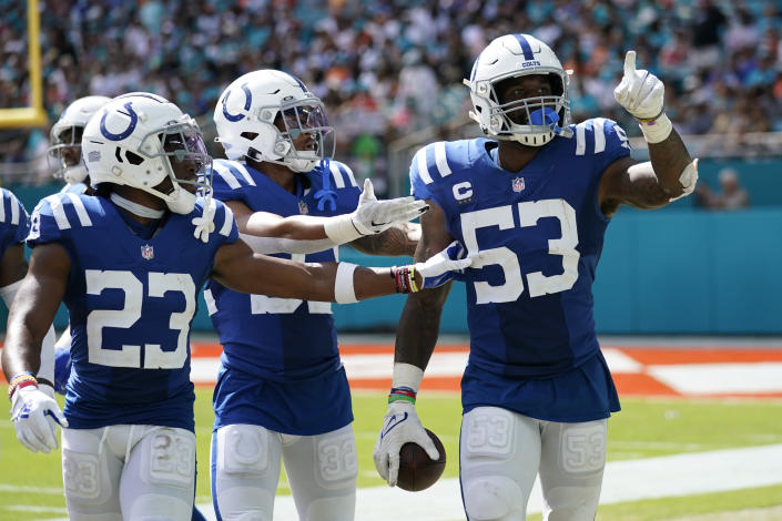 Indianapolis Colts outside linebacker Darius Leonard (53) celebrates a fumble recovery during the second half of an NFL football game against the Miami Dolphins, Sunday, Oct. 3, 2021, in Miami Gardens, Fla. (AP Photo/WIlfredo Lee)