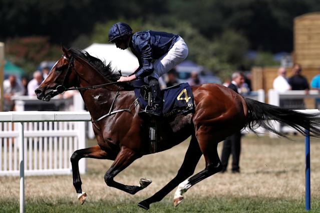Horse Racing - Royal Ascot - Ascot Racecourse, Ascot, Britain - June 21, 2018 Hunting Horn ridden by Ryan Moore wins the 3.05 Hampton Court Stakes Action Images via Reuters/Paul Childs