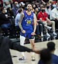 Denver Nuggets guard Austin Rivers reacts after scoring a 3-point basket against the Portland Trail Blazers during the second half of Game 3 of an NBA basketball first-round playoff series Thursday, May 27, 2021, in Portland, Ore. (AP Photo/Craig Mitchelldyer)