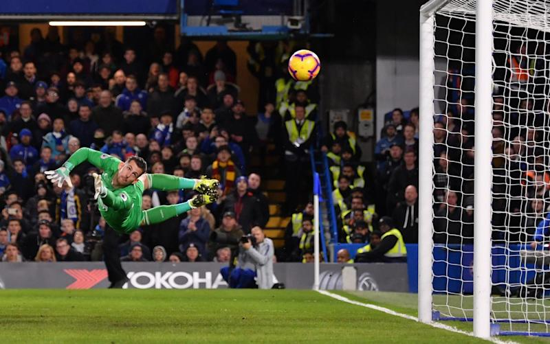 Martin Dubravka can only watch as Willian's shot flies into the corner to restore Chelsea's lead - Getty Images Europe