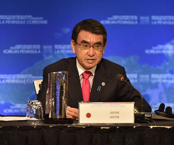Japanese Foreign Minister Taro Kono had tough words for Pyongyang -- a tone that was not matched by his South Korean counterpart (AFP Photo/Don MacKinnon)