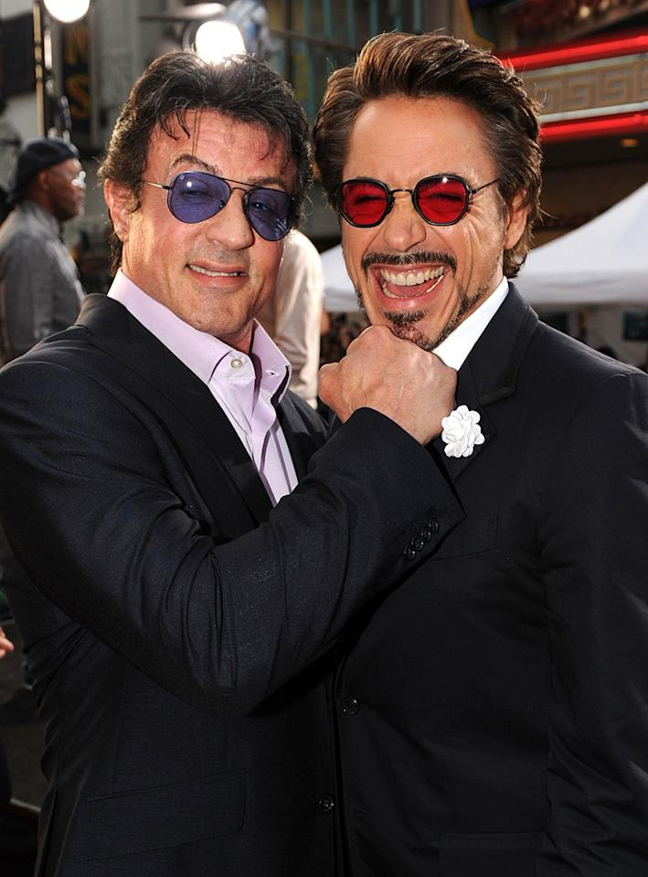 "<a href=""http://movies.yahoo.com/movie/contributor/1800020291"">Sylvester Stallone</a> and <a href=""http://movies.yahoo.com/movie/contributor/1800010914"">Robert Downey Jr.</a> at the Los Angeles premiere of <a href=""http://movies.yahoo.com/movie/1810026429/info"">Iron Man 2</a> - 04/26/2010"