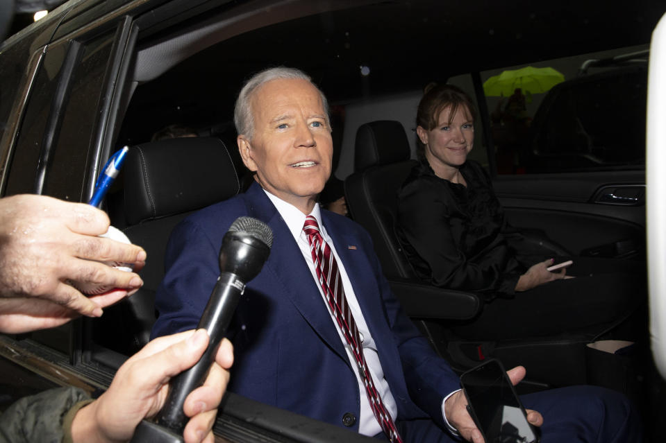 """FILE - In this April 26, 2019 file photo, former Vice President and Democratic presidential candidate Joe Biden rides in a car after appearing on ABC's """"The View"""" in New York. On Friday, May 29, 2020, The Associated Press reported on a video circulating online appearing to show the presumptive Democratic presidential candidate on """"The View"""" avoiding a question about inappropriate touching. The video, taken from Biden's April 26, 2019, appearance on the daytime talk show was edited to make it appear he failed to give a direct answer to the question about inappropriate touching and stumbled through the response. (AP Photo/Eduardo Munoz Alvarez)"""