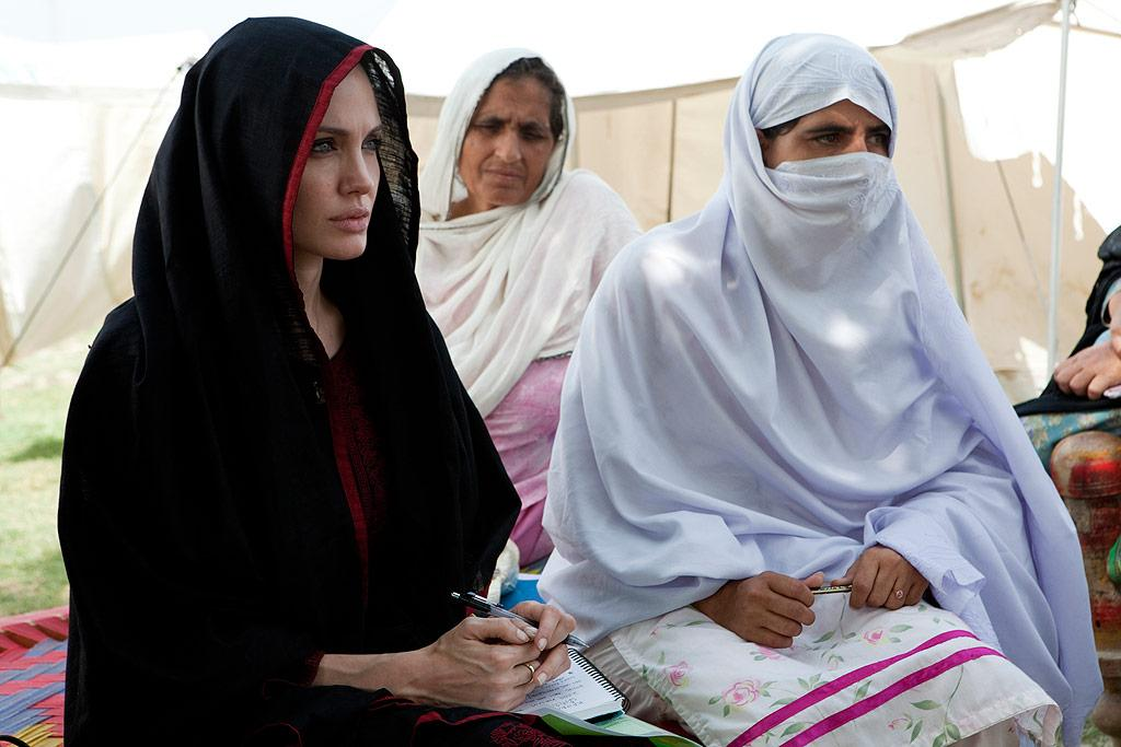 "UNHCR Goodwill Ambassador Angelina Jolie visited flood-hit regions of Pakistan Tuesday to highlight the plight of the 17 million people who have been affected by the natural disaster. In an interview with CNN, the star admitted that life on the road can be lonely. ""I'll talk to my family,"" said Jolie, adding, ""I talk to Brad [Pitt]; he wants to know as much as he can about these issues and every trip. He's been here as well; he came with me after the earthquake. But I don't know, I don't have a lot of friends I talk to. He is really the only person I talk to."" J.Tanner UNHCR/<a href=""http://www.splashnewsonline.com"" target=""new"">Splash News</a> - September 7, 2010"
