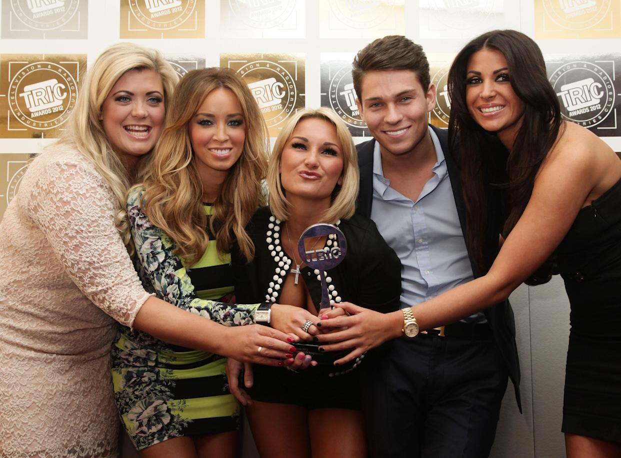 (left to right) Gemma Collins, Lauren Pope, Sam Faiers, Joey Essex and Cara Kilbey of The Only Way is Essex with their Satellite/Digital Programme award during the Television and Radio Industries Club (TRIC) Awards, at Grosvenor House Hotel on Park Lane, central London.   (Photo by Yui Mok/PA Images via Getty Images)