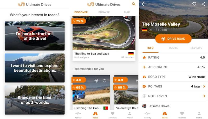 Die Ultimate Drives App gibt unter anderem den Adrenalin-Faktor der Route an. (Bild: Screenshots Ultimate Drives App, Collage: Yahoo Style)