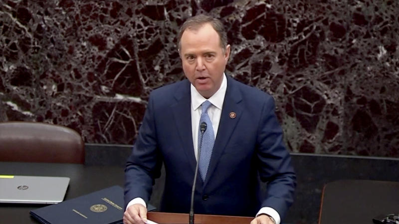 Impeachment Manager Rep. Adam Schiff reads the articles of impeachment on the floor of the Senate.(Screengrab: via Yahoo News Video)