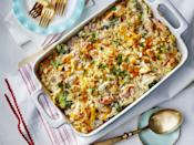 """<p><strong>Recipe: <a href=""""https://www.southernliving.com/recipes/ham-noodle-casserole"""" rel=""""nofollow noopener"""" target=""""_blank"""" data-ylk=""""slk:Ham Noodle Casserole"""" class=""""link rapid-noclick-resp"""">Ham Noodle Casserole</a></strong></p> <p>It will take you just 45 minutes from start to finish to get this casserole on the table for dinner.</p>"""