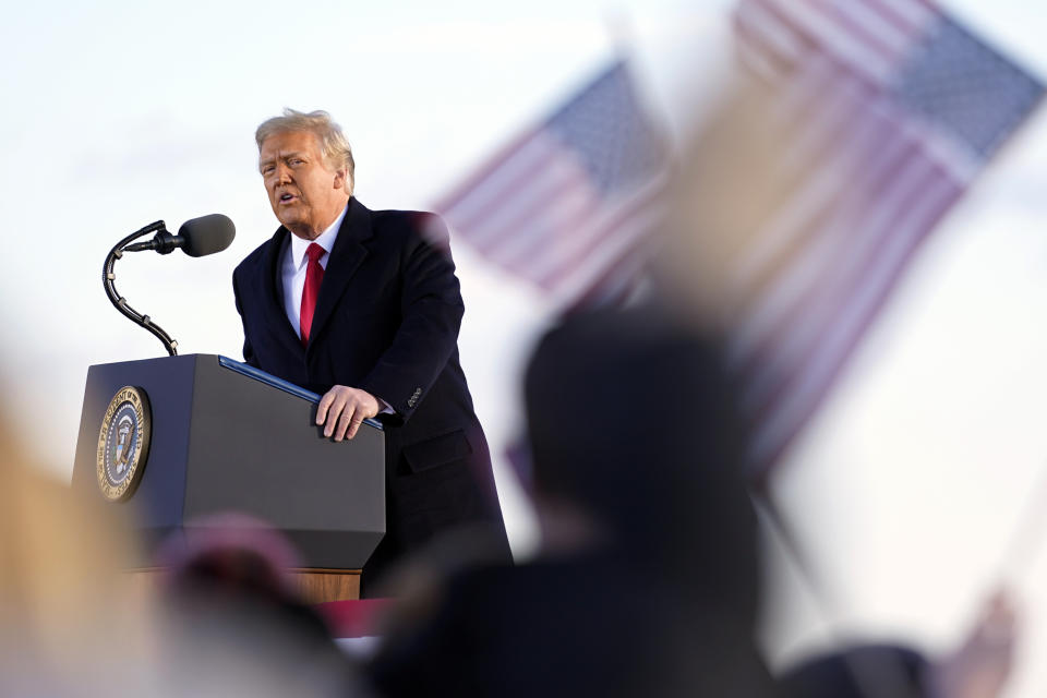 President Donald Trump speaks before boarding Air Force One at Andrews Air Force Base, Md., Wednesday, Jan. 20, 2021.(AP Photo/Manuel Balce Ceneta)