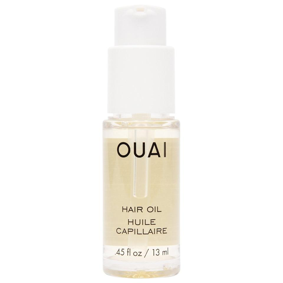 """<p>OK, this hair oil isn't a brand-new product, but it's now in a new size that's perfect for a beach bag. When the <a href=""""https://www.popsugar.com/buy/Ouai-Mini-Hair-Oil-575453?p_name=Ouai%20Mini%20Hair%20Oil&retailer=sephora.com&pid=575453&price=14&evar1=bella%3Aus&evar9=47486817&evar98=https%3A%2F%2Fwww.popsugar.com%2Fbeauty%2Fphoto-gallery%2F47486817%2Fimage%2F47486853%2FOuai-Mini-Hair-Oil&prop13=api&pdata=1"""" class=""""link rapid-noclick-resp"""" rel=""""nofollow noopener"""" target=""""_blank"""" data-ylk=""""slk:Ouai Mini Hair Oil"""">Ouai Mini Hair Oil</a> ($14) is applied to wet hair, it protects against heat and UV damage, and leaves a glossy shine and smooth finish to air-dried styles.</p>"""