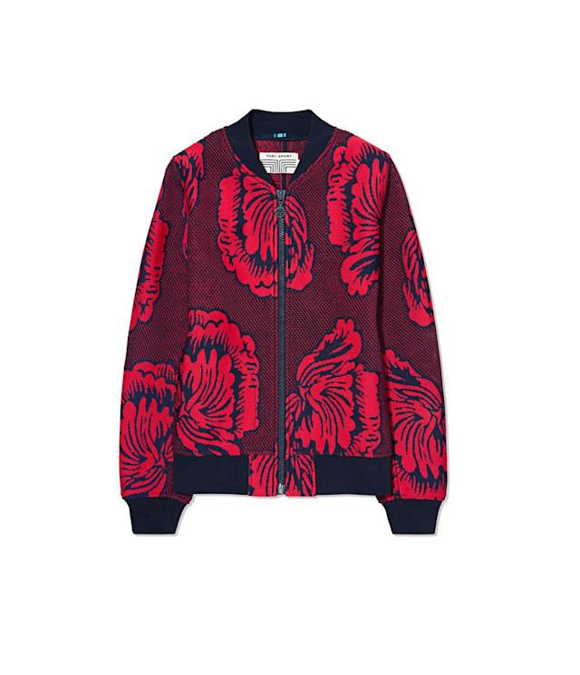 "<p>SoHo Floral Bomber Jacket, $498, available on Dec. 28 on <a href=""https://www.torysport.com/"" rel=""nofollow noopener"" target=""_blank"" data-ylk=""slk:torysport.com"" class=""link rapid-noclick-resp"">torysport.com</a> </p>"