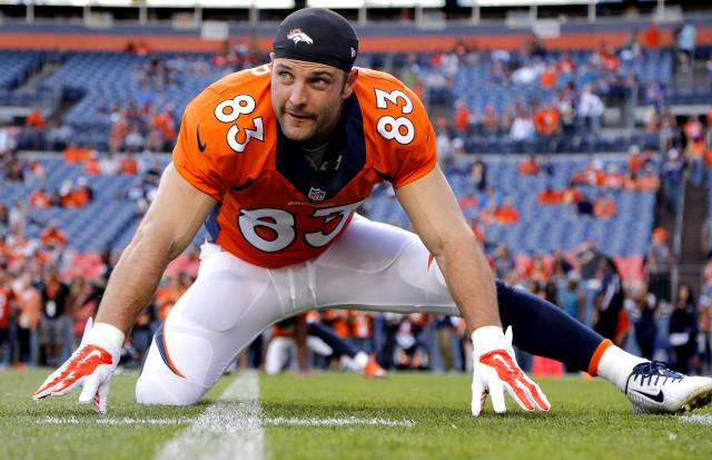 FILE - In this Aug. 23, 2014, file photo, Denver Broncos wide receiver Wes Welker (83) stretches prior to an NFL preseason football game against the Houston Texans in Denver. The Broncos will be without Welker for the first four games of the season after the NFL said the receiver violated the league's performance-enhancing drug policy. Normally, the league announces such violations on Monday. News of Welker's ban didn't come down until late Tuesday, Sept. 2, 2014, after the league offices had closed and the Broncos had already finished drawing up blueprints for their opener against Indianapolis, undoubtedly with Welker playing a prominent role.(AP Photo/Jack Dempsey, File)