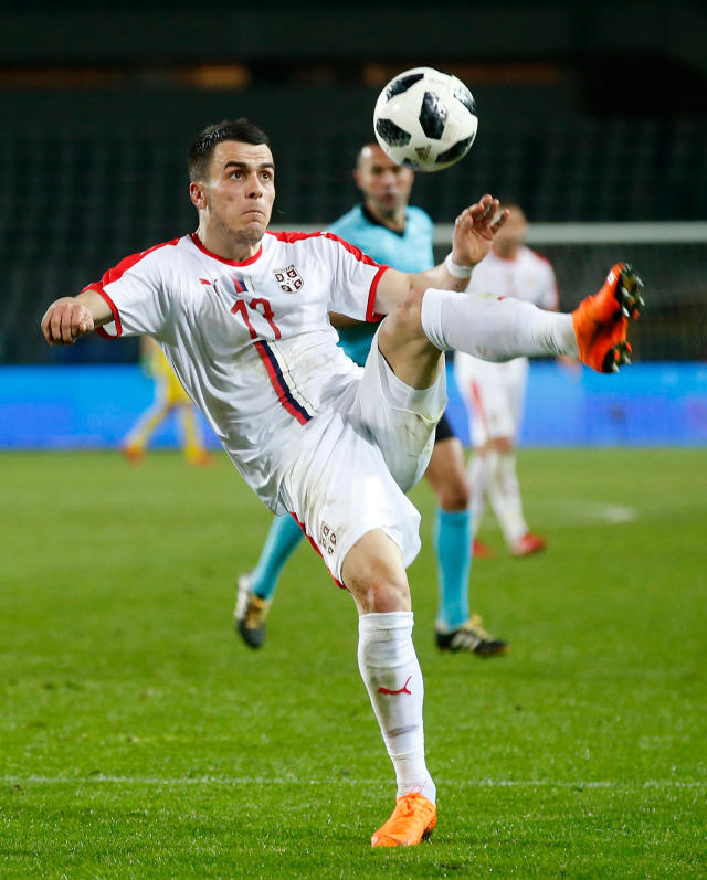 In this photo taken on Friday, March 23, 2018, Serbia's Filip Kostic controls the ball during a friendly soccer match between Serbia and Morocco in Turin, Italy. (AP Photo/Antonio Calanni)