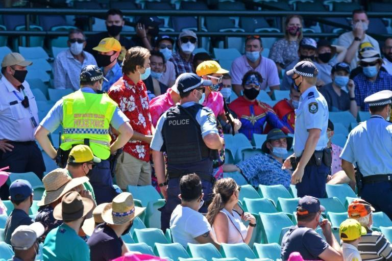 Police went into the crowd to speak to spectators after derogatory remarks were allegedly made to Indian players