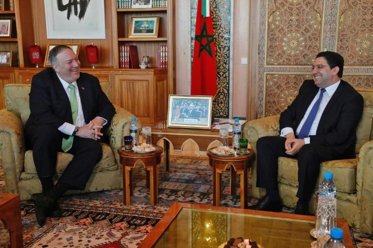 US Secretary of State Mike Pompeo meets with Morocco's Foreign Minister Nasser Bourita during a December 2019 visit in which relations with Israel were believed to be under discussion