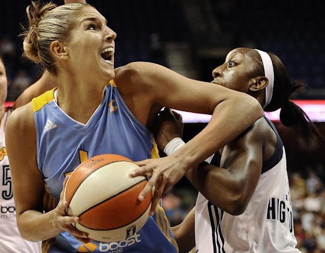 Chicago Sky's Elena Delle Donne is guarded by Connecticut Sun's Allison Hightower, right, during the first half of a WNBA basketball game in Uncasville, Conn., Friday, Aug. 9, 2013. (AP Photo/Jessica Hill)