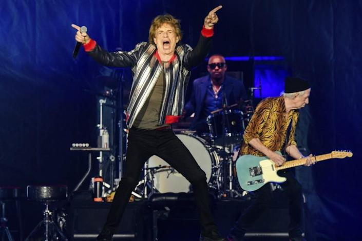 """Mick Jagger, from left, Steve Jordan and Keith Richards of the Rolling Stones perform during the """"No Filter"""" tour."""