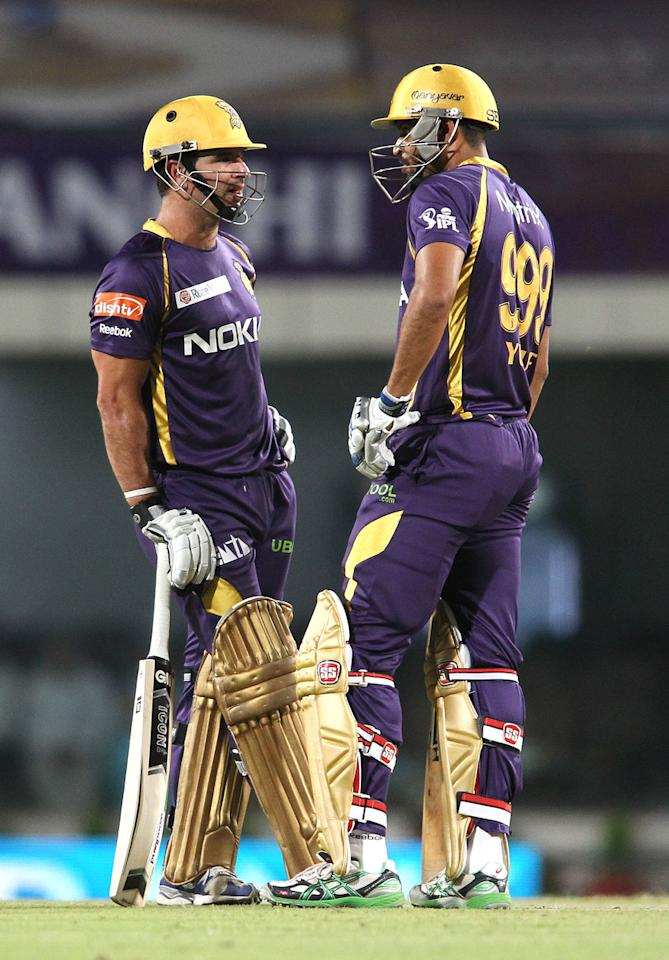 Ryan ten Doeschate of Kolkata Knight Riders and Yusuf Pathan of Kolkata Knight Riders between overs during match 65 of the Pepsi Indian Premier League between The Kolkata Knight Riders and the Pune Warriors India held at the JSCA International Stadium Complex, Ranchi, India on the 15th May 2013..Photo by Shaun Roy-IPL-SPORTZPICS    ..Use of this image is subject to the terms and conditions as outlined by the BCCI. These terms can be found by following this link:..https://ec.yimg.com/ec?url=http%3a%2f%2fwww.sportzpics.co.za%2fimage%2fI0000SoRagM2cIEc&t=1493451311&sig=HsWeSmBOX858SKmH2TDGdg--~C