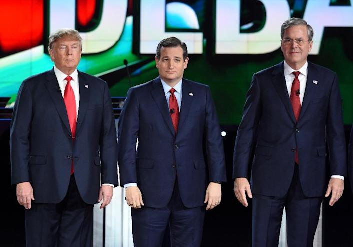 Some analysts say Republicans in several large states are more moderate and less likely to support Donald Trump (L) or Ted Cruz (C) which could boost Jeb Bush (R) (AFP Photo/Robyn Beck)