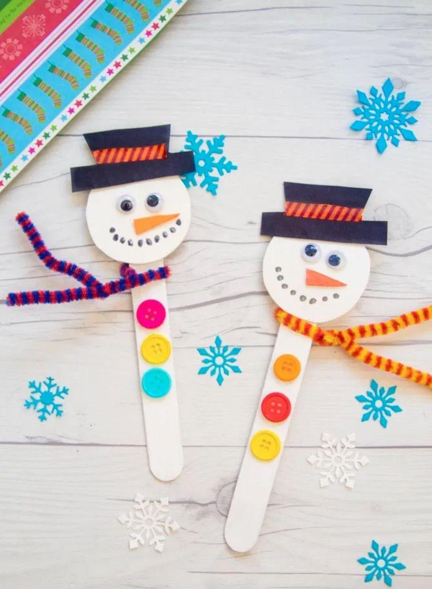 "<p>Use popsicle sticks as the bodies for these adorable snowpeople. Use craft foam sheets or paper for a round head up top. Decorate with googly eyes, buttons, pattered tape, white chalk paint and a pipe cleaner scarf. These are versatile as gift toppers, bookmarks — or whatever purpose you dream up for them.</p><p><em><a href=""https://artsycraftsymom.com/make-a-popsicle-stick-snowman-craft-this-christmas/"" rel=""nofollow noopener"" target=""_blank"" data-ylk=""slk:Get the tutorial at Artsy Craftsy Mom»"" class=""link rapid-noclick-resp"">Get the tutorial at Artsy Craftsy Mom»</a></em><br></p>"