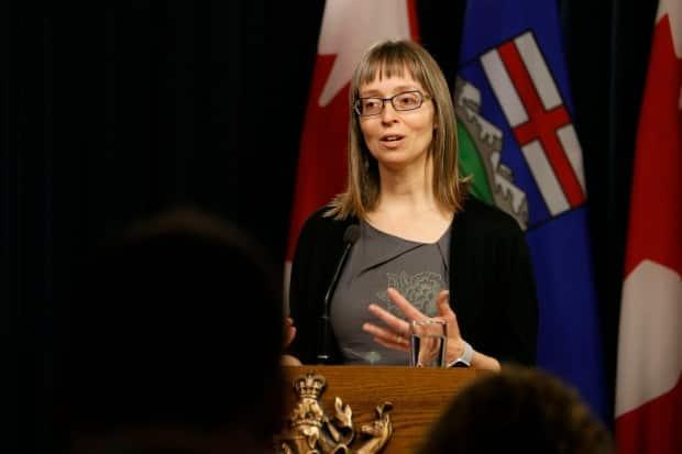 Dr. Deena Hinshaw, Alberta's top public health doctor, gave her latest pandemic update at a news conference on Thursday afternoon. (Art Raham/CBC - image credit)