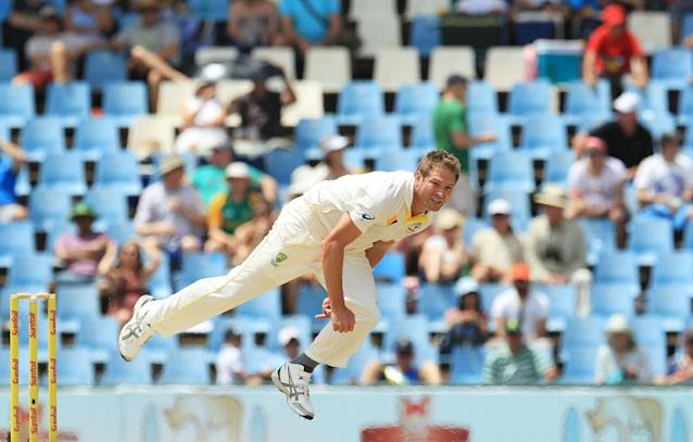 Australia's bowler Ryan Harris, watches his delivery on the fourth day of their cricket test match against South Africa at Centurion Park in Pretoria, South Africa, Saturday, Feb. 15, 2014. (AP Photo/ Themba Hadebe)