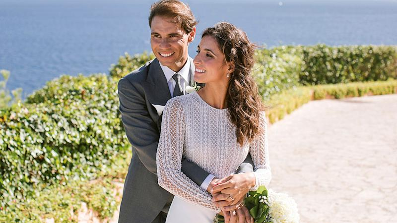 Rafa Nadal and wife Xisca Perello, pictured here at their wedding in 2019.