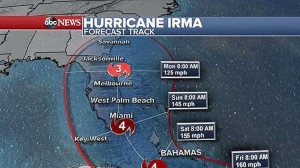 PHOTO: Hurricane Irma forecast track as of 2 p.m. Sept. 6, 2017. (ABC)