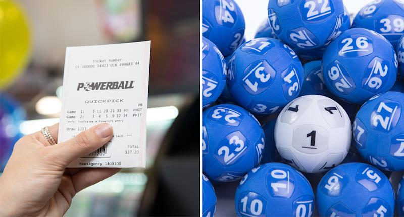 A Powerball ticket and lucky numbers can be seen ahead of jackpot draw tonight.