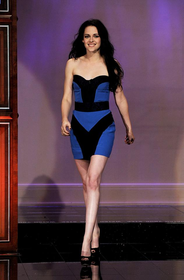 """When: 2011<br>Where: """"The Tonight Show with Jay Leno"""" <br>Wearing: Monique Lhuillier mini dress"""