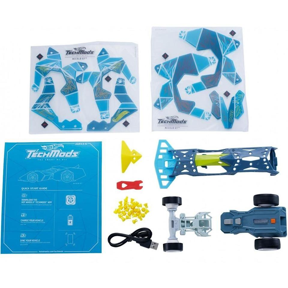 """<p><strong>Hot Wheels</strong></p><p>walmart.com</p><p><strong>$35.42</strong></p><p><a href=""""https://go.redirectingat.com?id=74968X1596630&url=https%3A%2F%2Fwww.walmart.com%2Fip%2F411679949&sref=https%3A%2F%2Fwww.goodhousekeeping.com%2Fchildrens-products%2Ftoy-reviews%2Fg29419638%2Fbest-toys-gifts-for-9-year-old-boys%2F"""" rel=""""nofollow noopener"""" target=""""_blank"""" data-ylk=""""slk:Shop Now"""" class=""""link rapid-noclick-resp"""">Shop Now</a></p><p>With this Hot Wheels toy, your 9-year-old can <strong>build his own car and then use the TechMods app to control it</strong>. There are two different ways to play: freestyle mode or treasure-hunt mode. Within the app, kids are able to play games and unlock different challenges while driving the car. Just note that the app is only available on Apple or Android devices. <em>Ages 8+</em></p>"""
