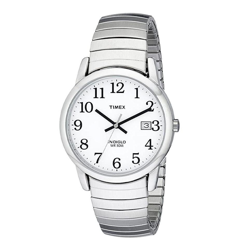 """<p><strong>Timex</strong></p><p>amazon.com</p><p><strong>$37.05</strong></p><p><a href=""""https://www.amazon.com/dp/B000AYYIWW?tag=syn-yahoo-20&ascsubtag=%5Bartid%7C2139.g.36673991%5Bsrc%7Cyahoo-us"""" rel=""""nofollow noopener"""" target=""""_blank"""" data-ylk=""""slk:BUY IT HERE"""" class=""""link rapid-noclick-resp"""">BUY IT HERE</a></p><p>This smaller watch has all the bells and whistles: a polished silver hue for everyday wear, a date window, a light-up dial, water resistance (up to 99 feet), <em>and </em>an expansion band—the latter of which makes it super adjustable, so you can keep it around even if your wrist size changes. </p>"""