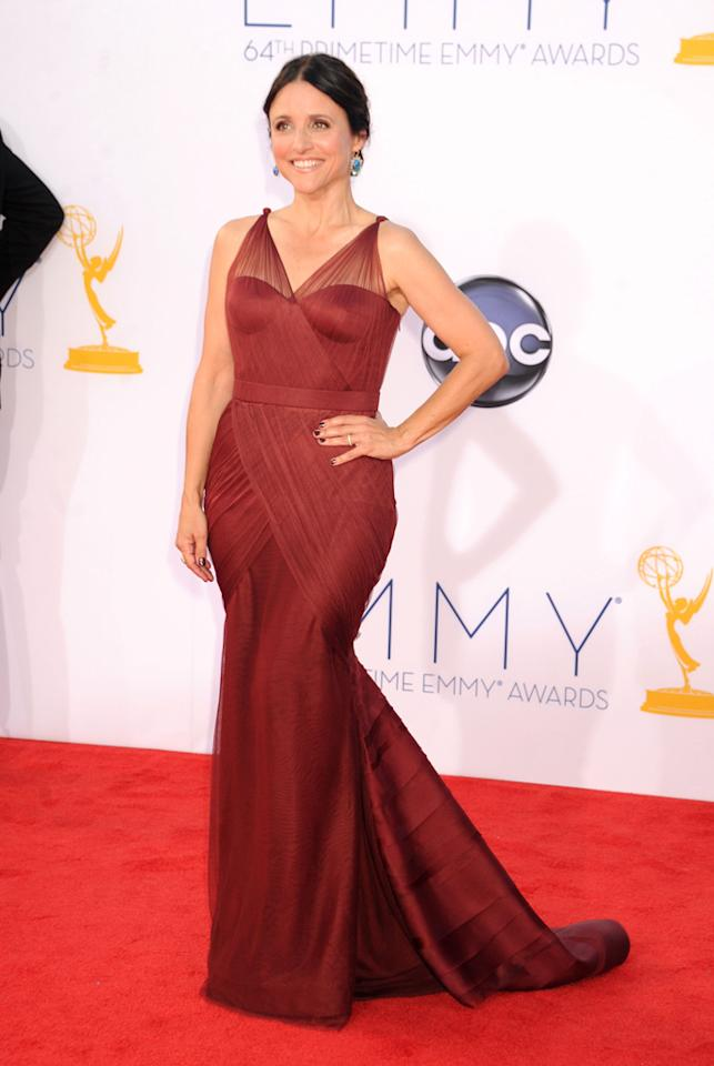 Julia Louis-Dreyfus arrives at the 64th Primetime Emmy Awards at the Nokia Theatre in Los Angeles on September 23, 2012.