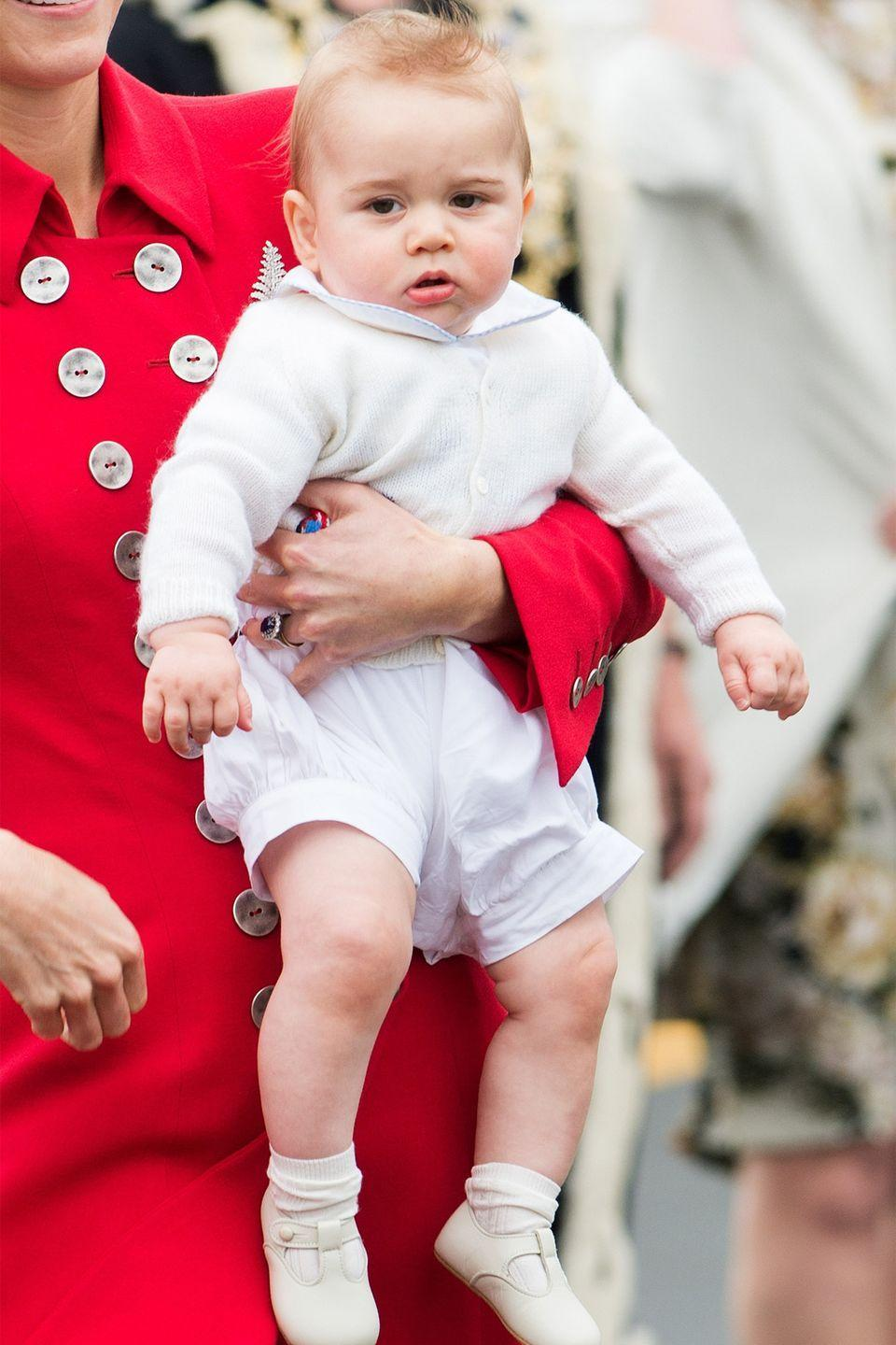 <p>The Duchess of Cambridge and Prince George arrive at Wellington Airport in New Zealand for their three-week tour of Australia and New Zealand.</p>